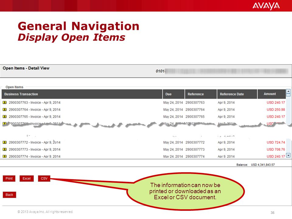 © 2013 Avaya Inc. All rights reserved. 35 General Navigation Display Open Items The information can now be printed or downloaded as an Excel or CSV do