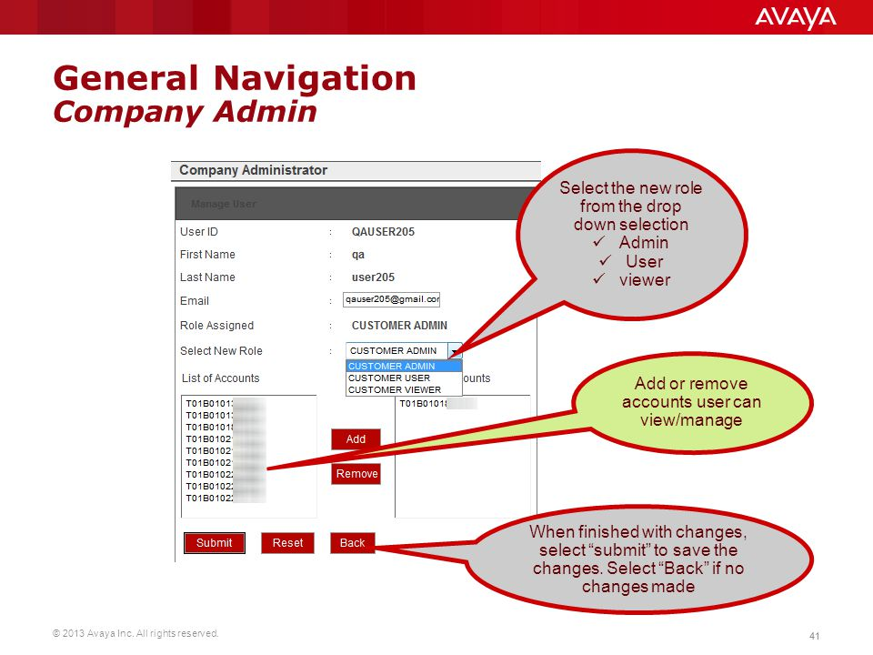 © 2013 Avaya Inc. All rights reserved. 41 General Navigation Company Admin Select the new role from the drop down selection Admin User viewer Add or r