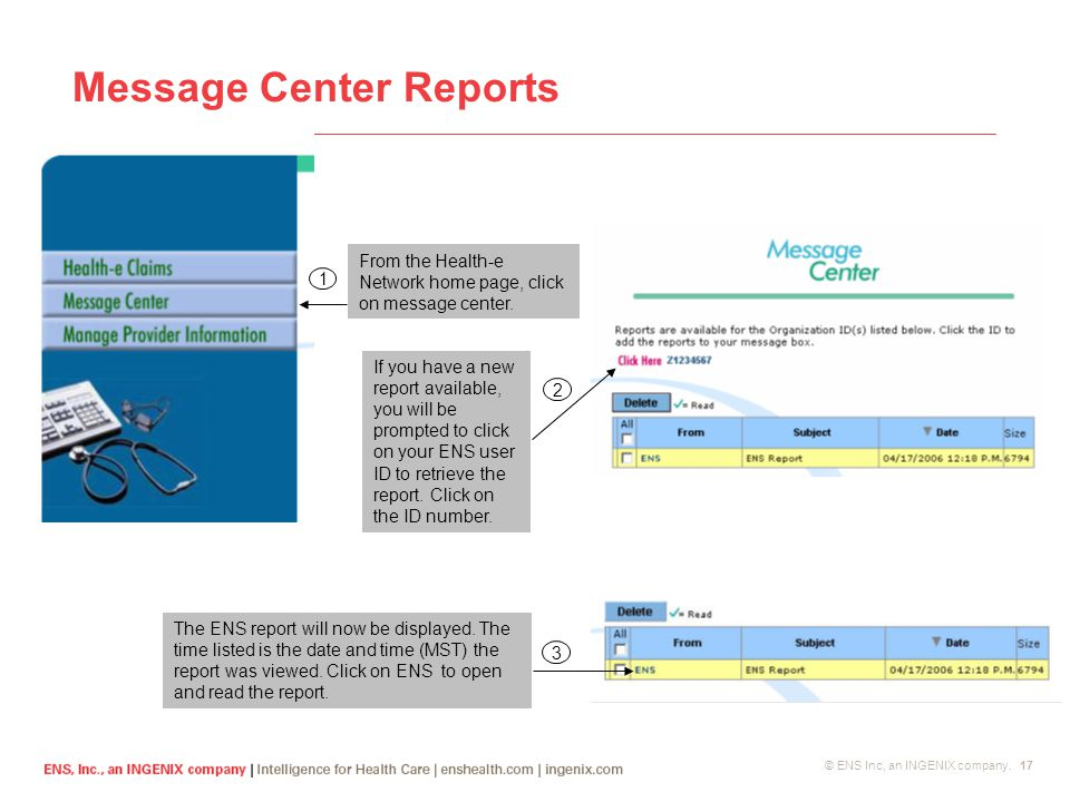 © ENS Inc, an INGENIX company. 17 Message Center Reports From the Health-e Network home page, click on message center. 1 If you have a new report avai