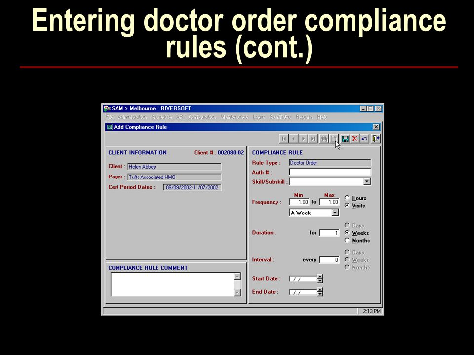 Entering doctor order compliance rules (cont.)