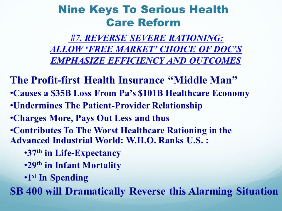 Nine Keys To Serious Health Care Reform #7.