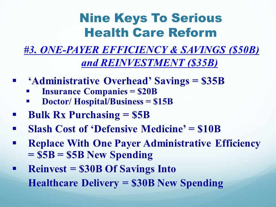 Nine Keys To Serious Health Care Reform #3.