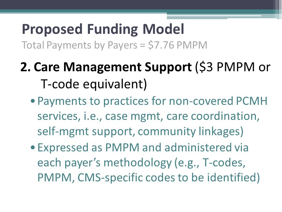 Proposed Funding Model Total Payments by Payers = $7.76 PMPM 2.