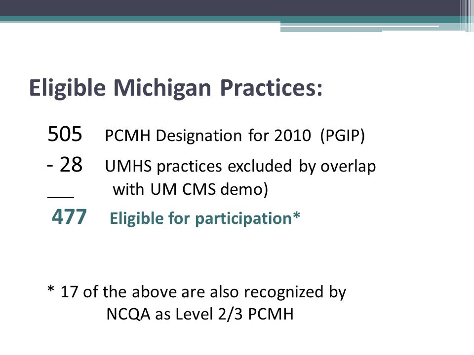 Eligible Michigan Practices: 505 PCMH Designation for 2010 (PGIP) - 28 UMHS practices excluded by overlap ___ with UM CMS demo) 477 Eligible for participation* * 17 of the above are also recognized by NCQA as Level 2/3 PCMH