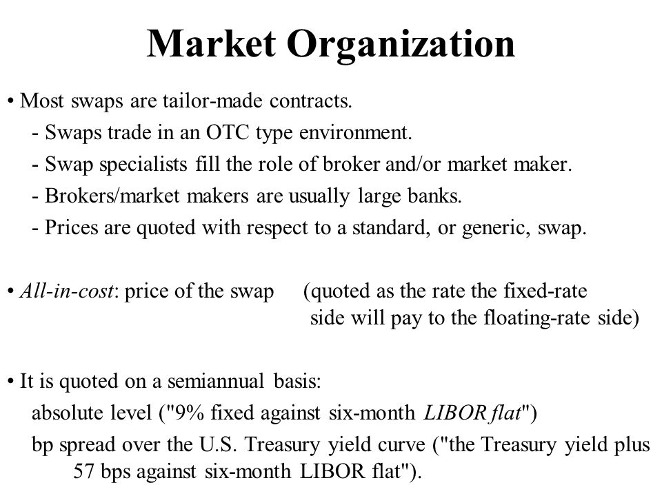 Using Swaps - Manage risks (change profile of cash flows) - Arbitrage (take advantage of price differentials) - Enter new markets (firms can indirectly create new exposures) - Create new instruments (no forward contract exist, a swap completes the market) (1) Change profile of cash flow Goyco's underlying situation: Fixed payments, but wants floating debt.