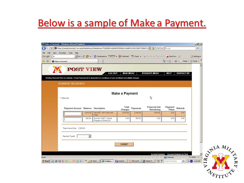 Below is a sample of Make a Payment.