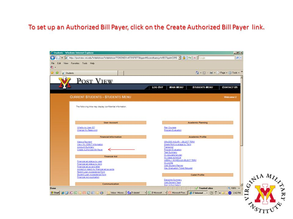 To set up an Authorized Bill Payer, click on the Create Authorized Bill Payer link.