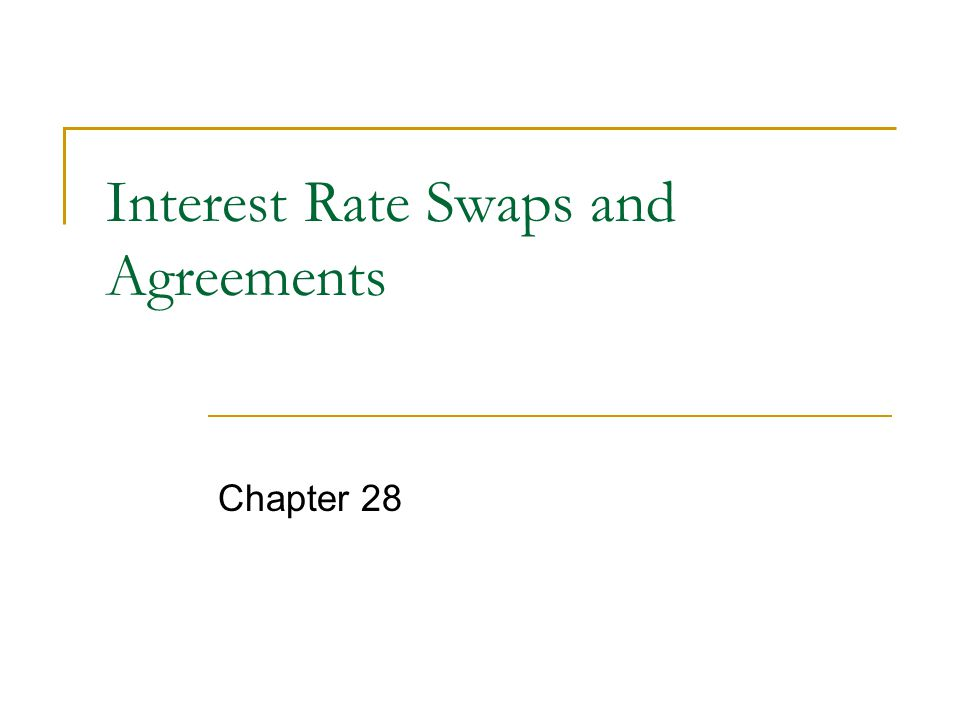 Interest Rate Swaps and Agreements Chapter 28