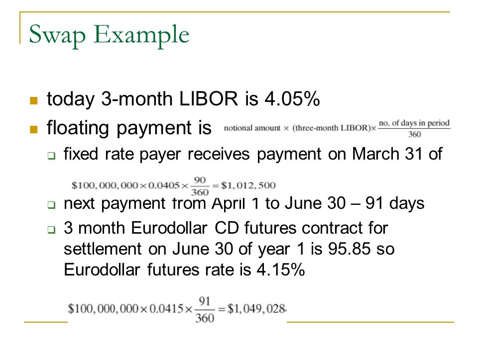 Swap Example today 3-month LIBOR is 4.05% floating payment is  fixed rate payer receives payment on March 31 of  next payment from April 1 to June 30 – 91 days  3 month Eurodollar CD futures contract for settlement on June 30 of year 1 is 95.85 so Eurodollar futures rate is 4.15%