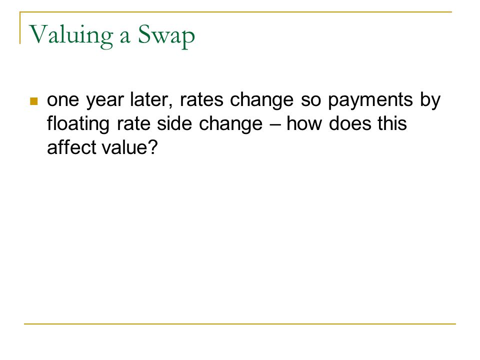 Valuing a Swap one year later, rates change so payments by floating rate side change – how does this affect value?