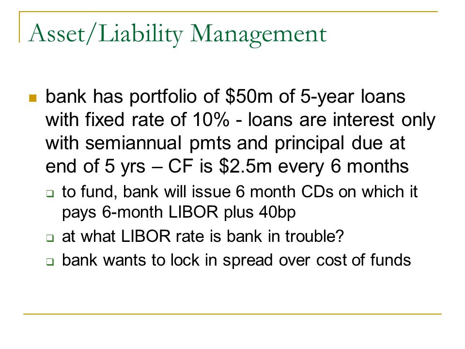 Asset/Liability Management bank has portfolio of $50m of 5-year loans with fixed rate of 10% - loans are interest only with semiannual pmts and principal due at end of 5 yrs – CF is $2.5m every 6 months  to fund, bank will issue 6 month CDs on which it pays 6-month LIBOR plus 40bp  at what LIBOR rate is bank in trouble.