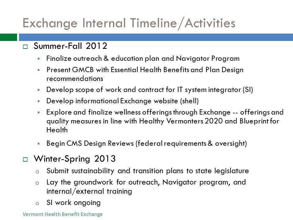 Exchange Internal Timeline/Activities  Summer-Fall 2012  Finalize outreach & education plan and Navigator Program  Present GMCB with Essential Health Benefits and Plan Design recommendations  Develop scope of work and contract for IT system integrator (SI)  Develop informational Exchange website (shell)  Explore and finalize wellness offerings through Exchange -- offerings and quality measures in line with Healthy Vermonters 2020 and Blueprint for Health  Begin CMS Design Reviews (federal requirements & oversight)  Winter-Spring 2013 o Submit sustainability and transition plans to state legislature o Lay the groundwork for outreach, Navigator program, and internal/external training o SI work ongoing Vermont Health Benefit Exchange