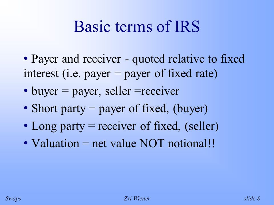 SwapsZvi Wiener slide 8 Basic terms of IRS Payer and receiver - quoted relative to fixed interest (i.e.