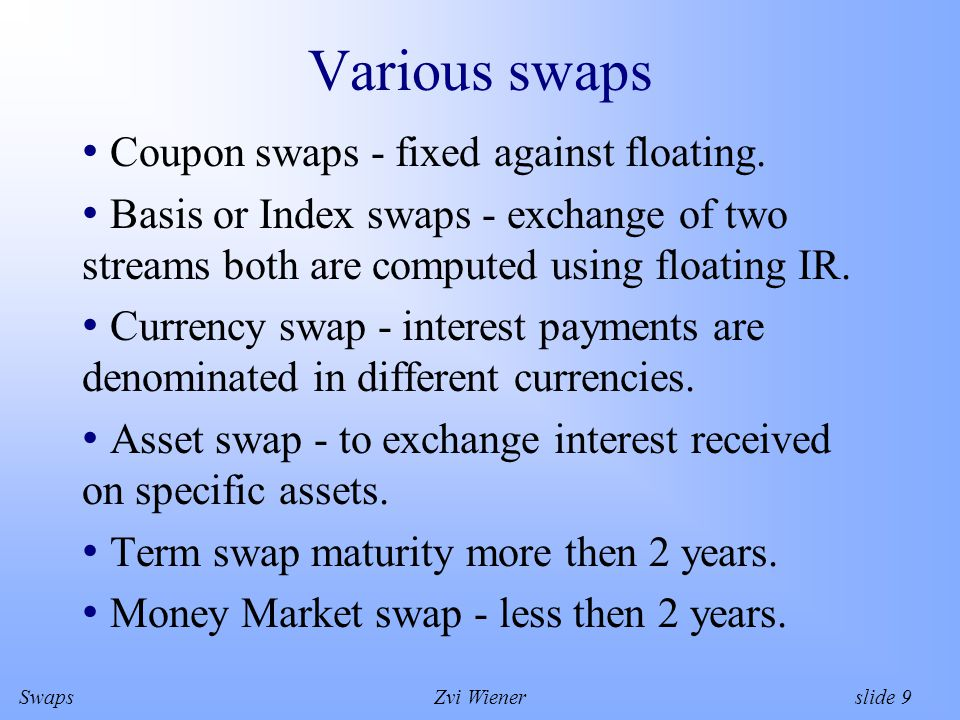 SwapsZvi Wiener slide 10 Payments Fixed payment = (notional)(Fixed rate)(fixed rate day count convention) Floating payment = (notional)(Float.