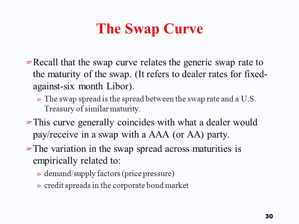 29 Example F Assume a spread of zero, so that we are working off treasuries, then »The 2-year swap with fixed rate 5.5% is worth -0.0019 (per $100 notional amount).