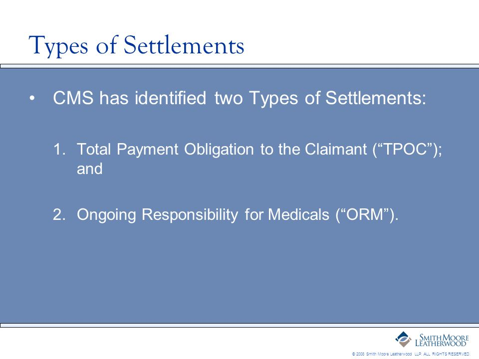 © 2008 Smith Moore Leatherwood LLP. ALL RIGHTS RESERVED. Types of Settlements CMS has identified two Types of Settlements: 1.Total Payment Obligation