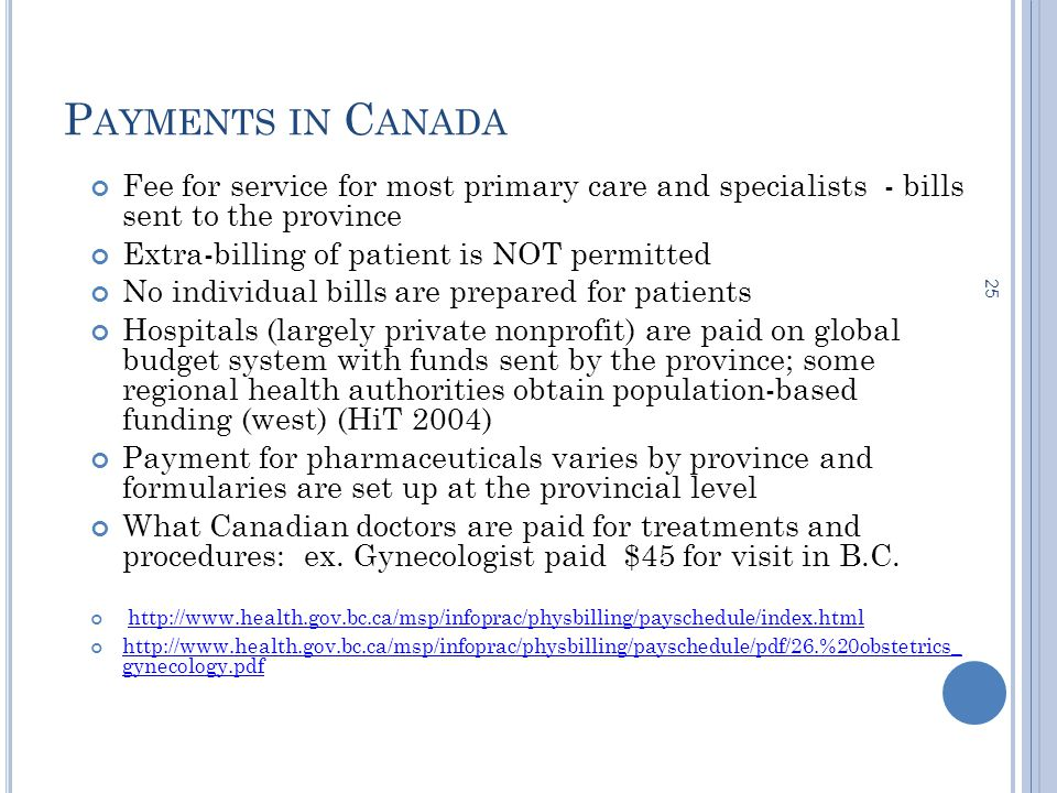 P AYMENTS IN C ANADA 25 Fee for service for most primary care and specialists - bills sent to the province Extra-billing of patient is NOT permitted No individual bills are prepared for patients Hospitals (largely private nonprofit) are paid on global budget system with funds sent by the province; some regional health authorities obtain population-based funding (west) (HiT 2004) Payment for pharmaceuticals varies by province and formularies are set up at the provincial level What Canadian doctors are paid for treatments and procedures: ex.