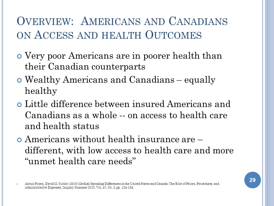 O VERVIEW : A MERICANS AND C ANADIANS ON A CCESS AND HEALTH O UTCOMES Very poor Americans are in poorer health than their Canadian counterparts Wealthy Americans and Canadians – equally healthy Little difference between insured Americans and Canadians as a whole -- on access to health care and health status Americans without health insurance are – different, with low access to health care and more unmet health care needs Alexis Pozen, David M.