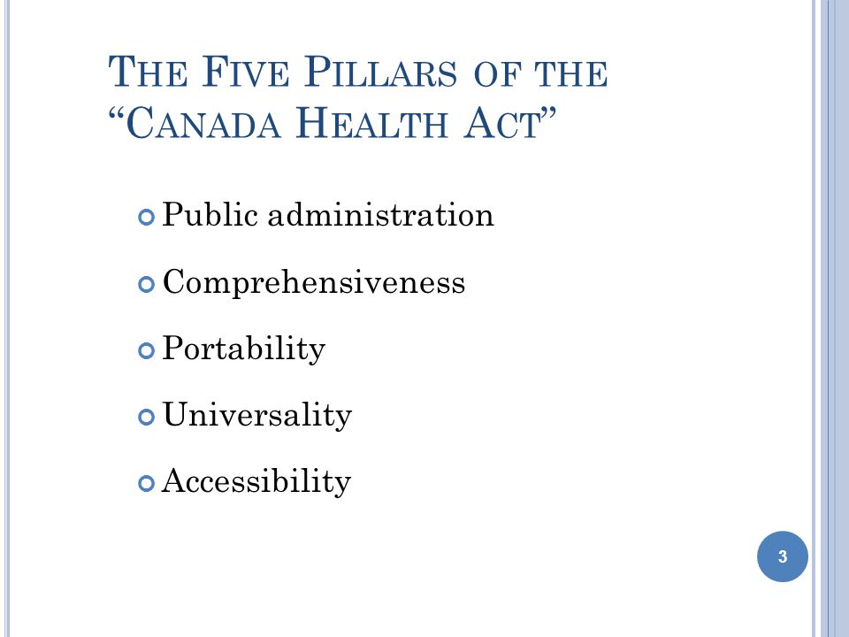 T HE F IVE P ILLARS OF THE C ANADA H EALTH A CT Public administration Comprehensiveness Portability Universality Accessibility 3