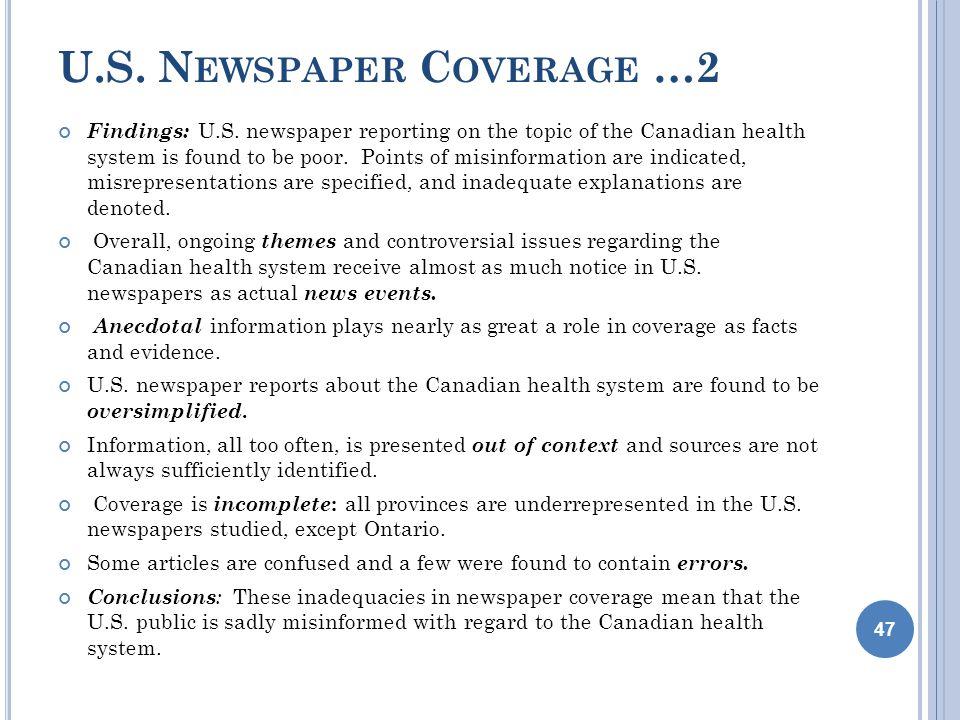 U.S. N EWSPAPER C OVERAGE …2 Findings: U.S.