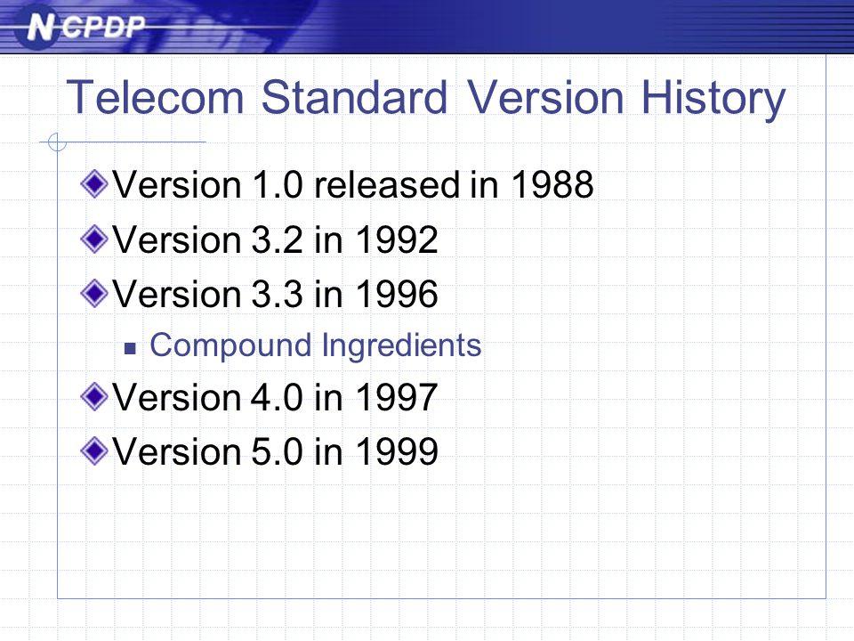 Telecom Standard Version History Version 1.0 released in 1988 Version 3.2 in 1992 Version 3.3 in 1996 Compound Ingredients Version 4.0 in 1997 Version 5.0 in 1999