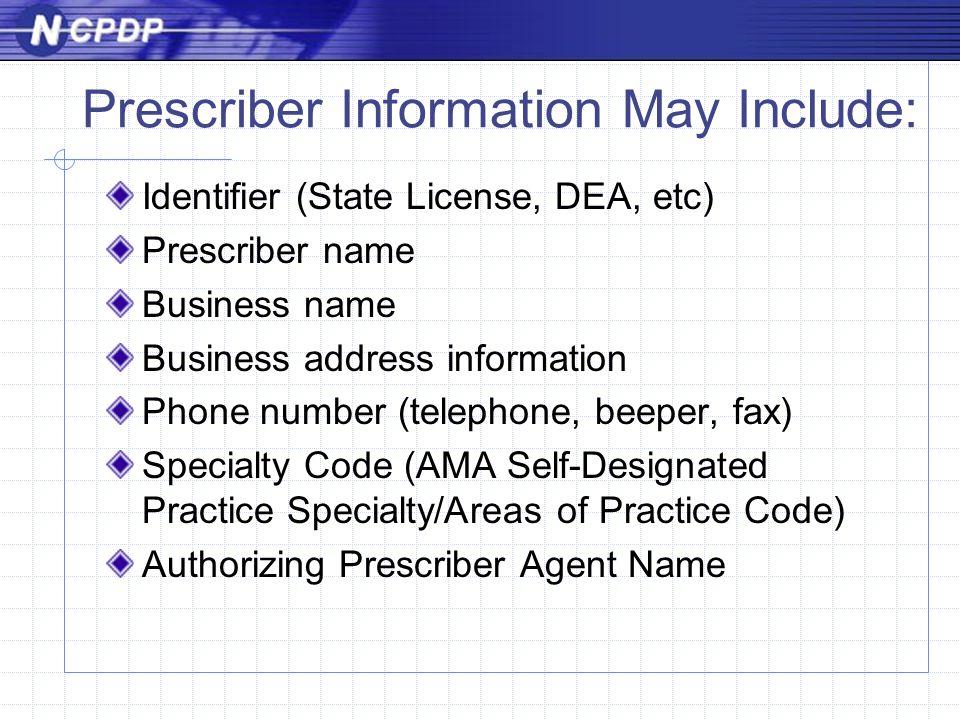Prescriber Information May Include: Identifier (State License, DEA, etc) Prescriber name Business name Business address information Phone number (telephone, beeper, fax) Specialty Code (AMA Self-Designated Practice Specialty/Areas of Practice Code) Authorizing Prescriber Agent Name