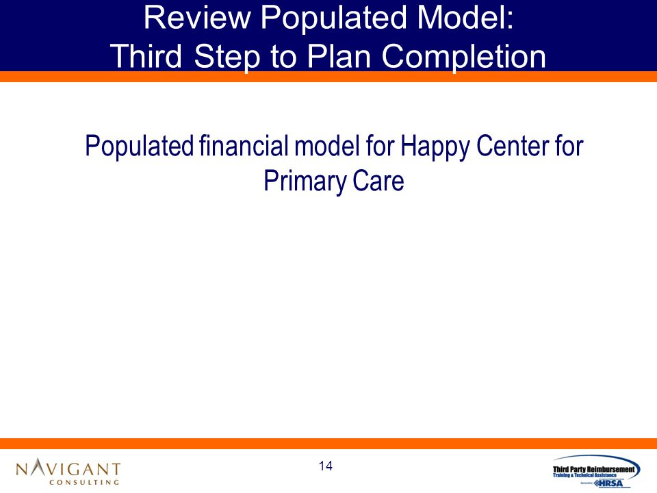 14 Review Populated Model: Third Step to Plan Completion Populated financial model for Happy Center for Primary Care