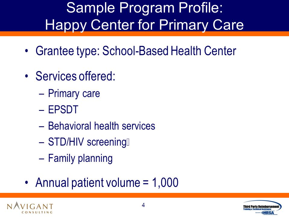 4 Sample Program Profile: Happy Center for Primary Care Grantee type: School-Based Health Center Services offered: –Primary care –EPSDT –Behavioral health services –STD/HIV screening –Family planning Annual patient volume = 1,000