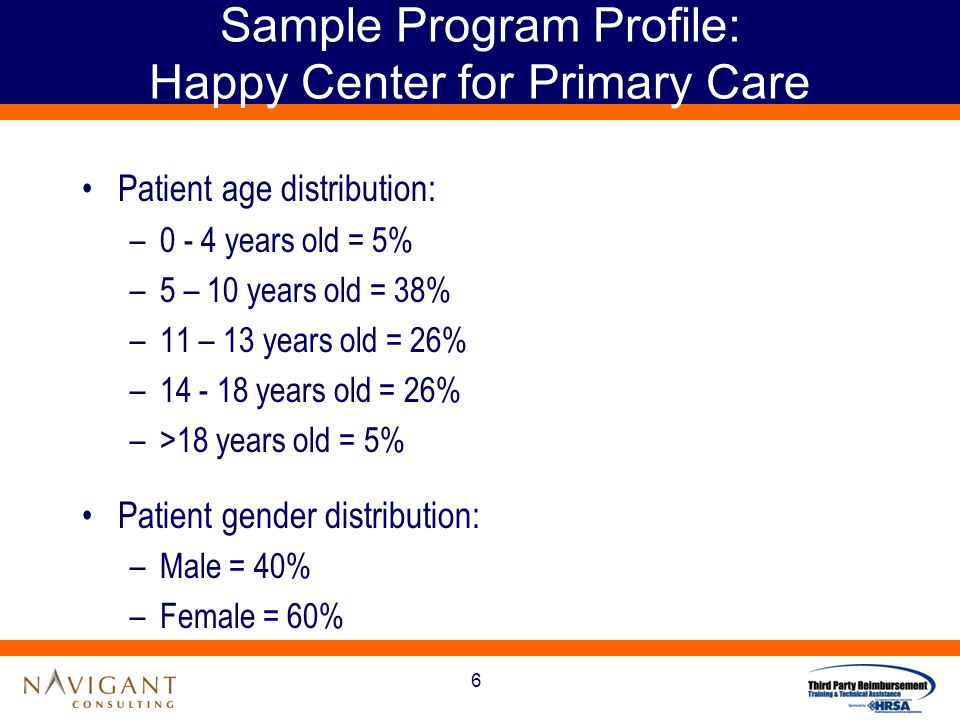 6 Sample Program Profile: Happy Center for Primary Care Patient age distribution: –0 - 4 years old = 5% –5 – 10 years old = 38% –11 – 13 years old = 26% –14 - 18 years old = 26% –>18 years old = 5% Patient gender distribution: –Male = 40% –Female = 60%