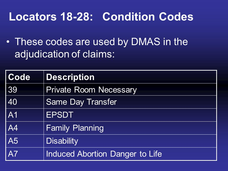 Locators 18-28: Condition Codes These codes are used by DMAS in the adjudication of claims: CodeDescription 39Private Room Necessary 40Same Day Transf