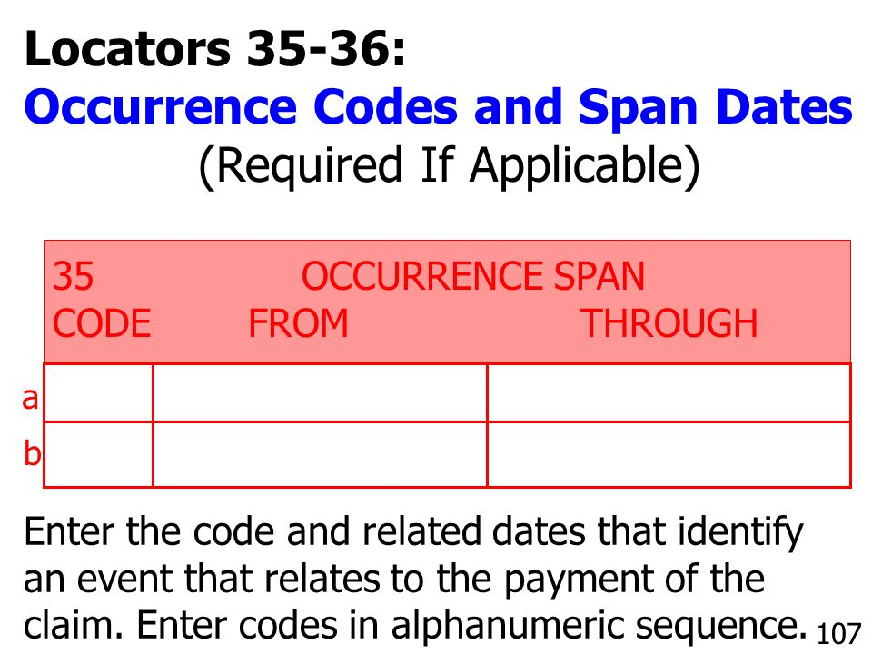 Enter the code and related dates that identify an event that relates to the payment of the claim. Enter codes in alphanumeric sequence. 35 OCCURRENCE