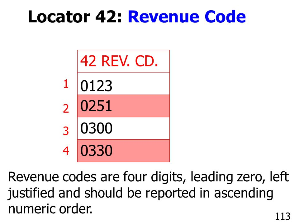 42 REV. CD. 1 2 3 4 0123 0251 0300 0330 Revenue codes are four digits, leading zero, left justified and should be reported in ascending numeric order.