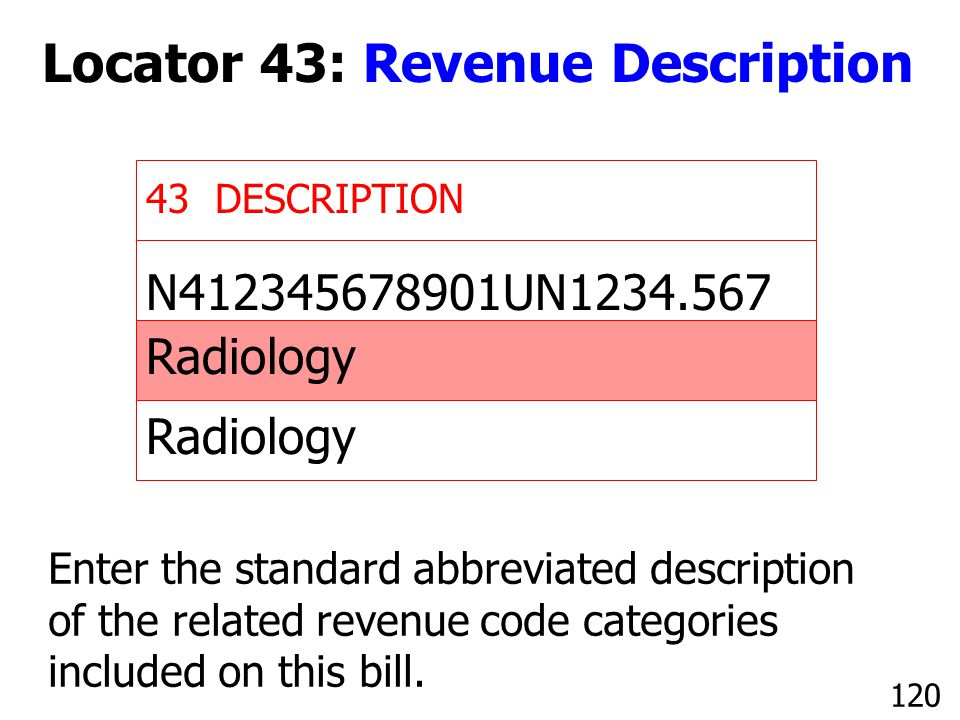 N412345678901UN1234.567 Radiology 43 DESCRIPTION Enter the standard abbreviated description of the related revenue code categories included on this bi