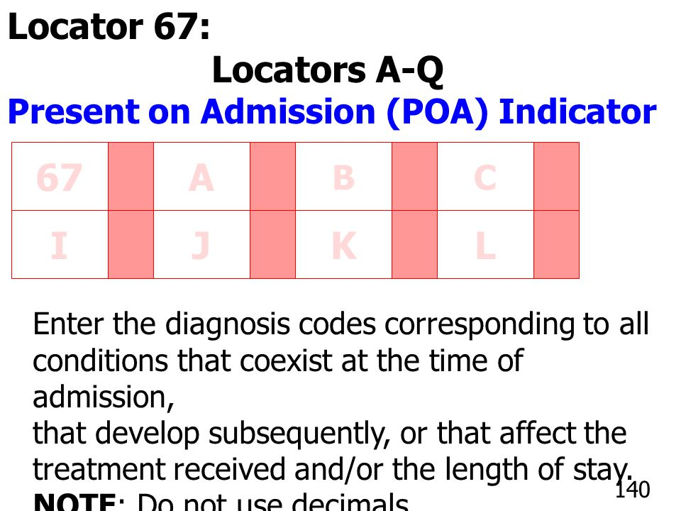 67A BC IJKL Enter the diagnosis codes corresponding to all conditions that coexist at the time of admission, that develop subsequently, or that affect