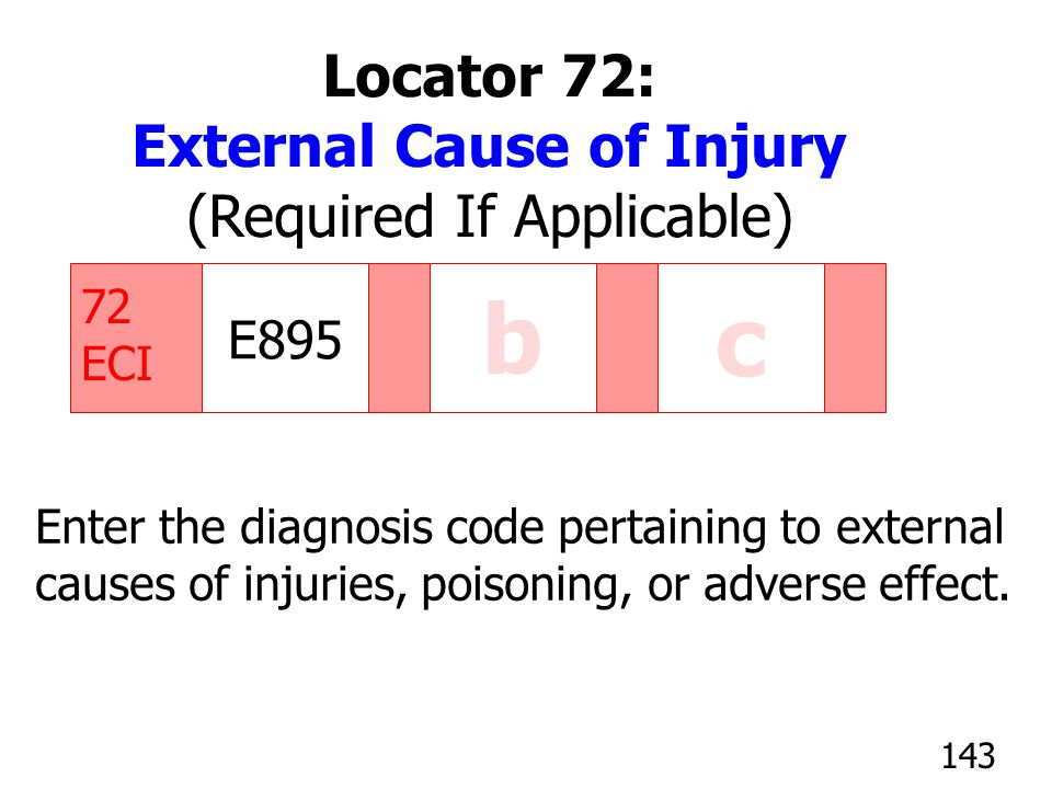 E895 c 72 ECI b Enter the diagnosis code pertaining to external causes of injuries, poisoning, or adverse effect. 143 Locator 72: External Cause of In
