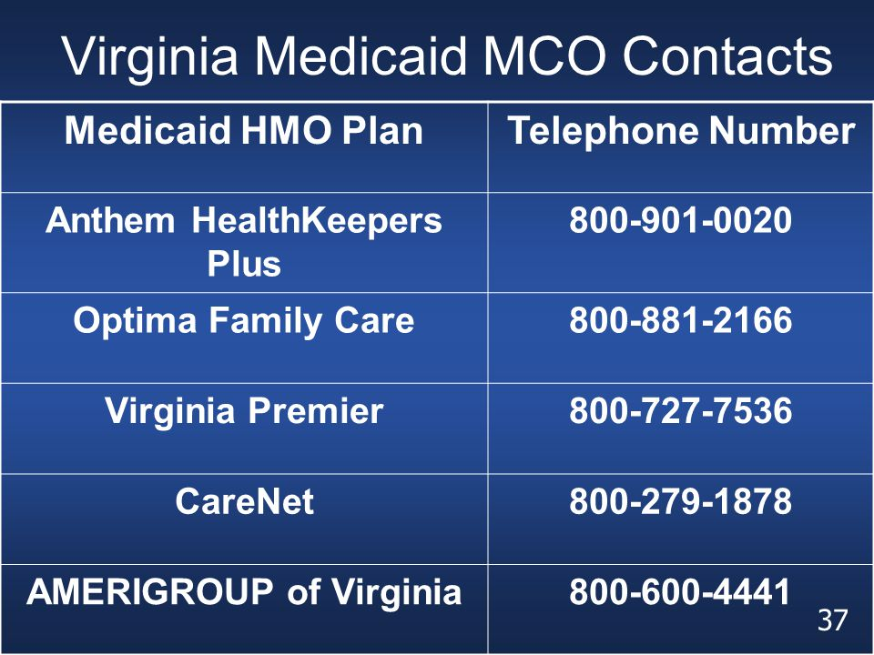 Virginia Medicaid MCO Contacts Medicaid HMO PlanTelephone Number Anthem HealthKeepers Plus 800-901-0020 Optima Family Care800-881-2166 Virginia Premie