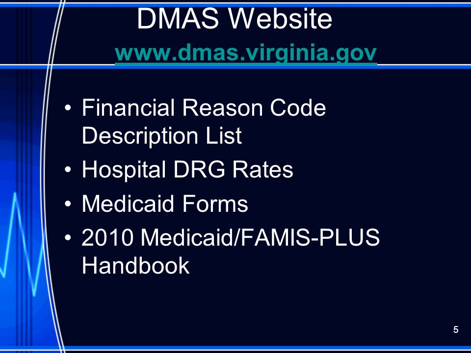 DMAS Service Types That May Require a Taxonomy Codes Service Type DescriptionTaxonomy Code (s) Hospital, General282N00000X Laboratory291U00000X Rehabilitation Unit of Hosp.273Y00000X Psychiatric Unit of Hospital273R00000X Private Mental Hospital (IP)283Q00000X Rehabilitation Hospital283X00000X 156