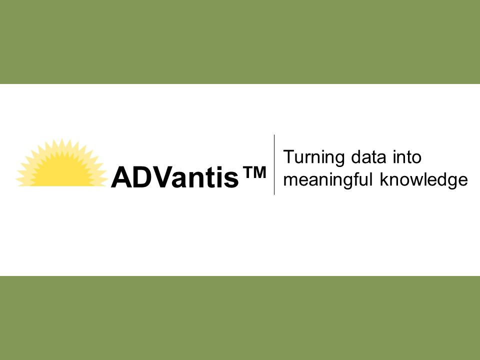 1 Turning data into meaningful knowledge ADVantis™