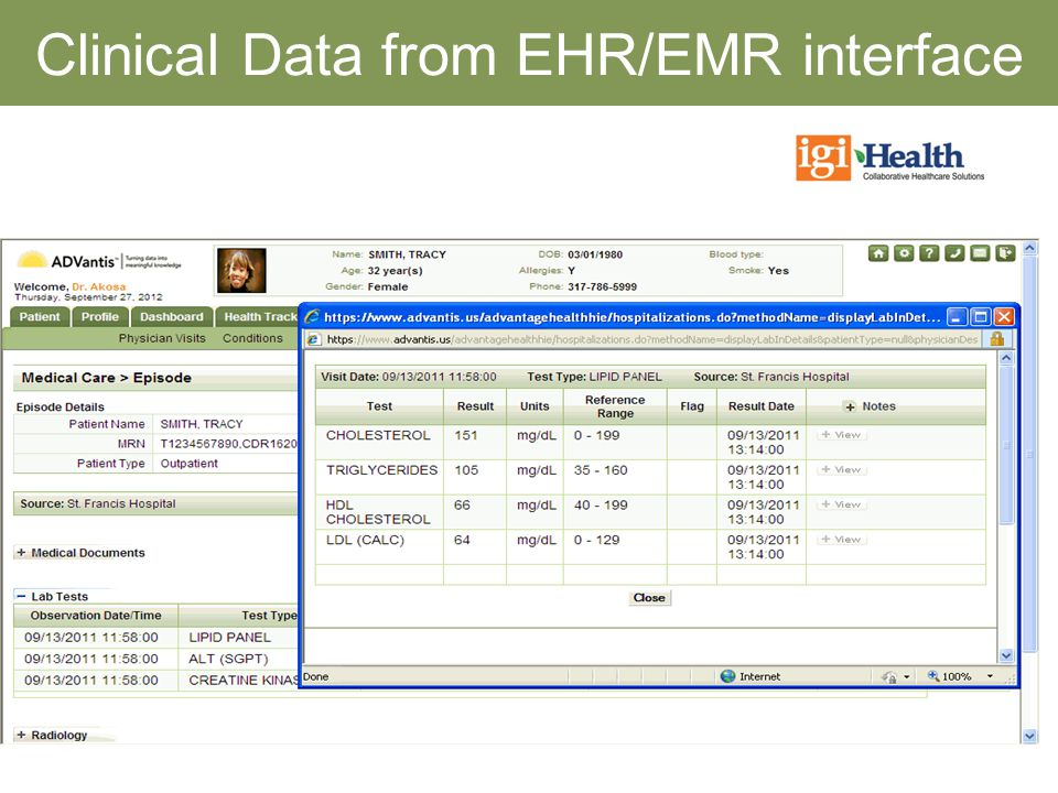 Clinical Data from EHR/EMR interface
