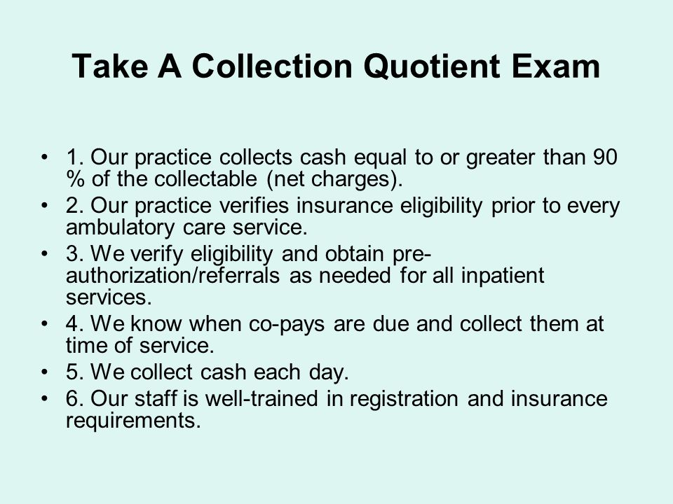 Take A Collection Quotient Exam 1.