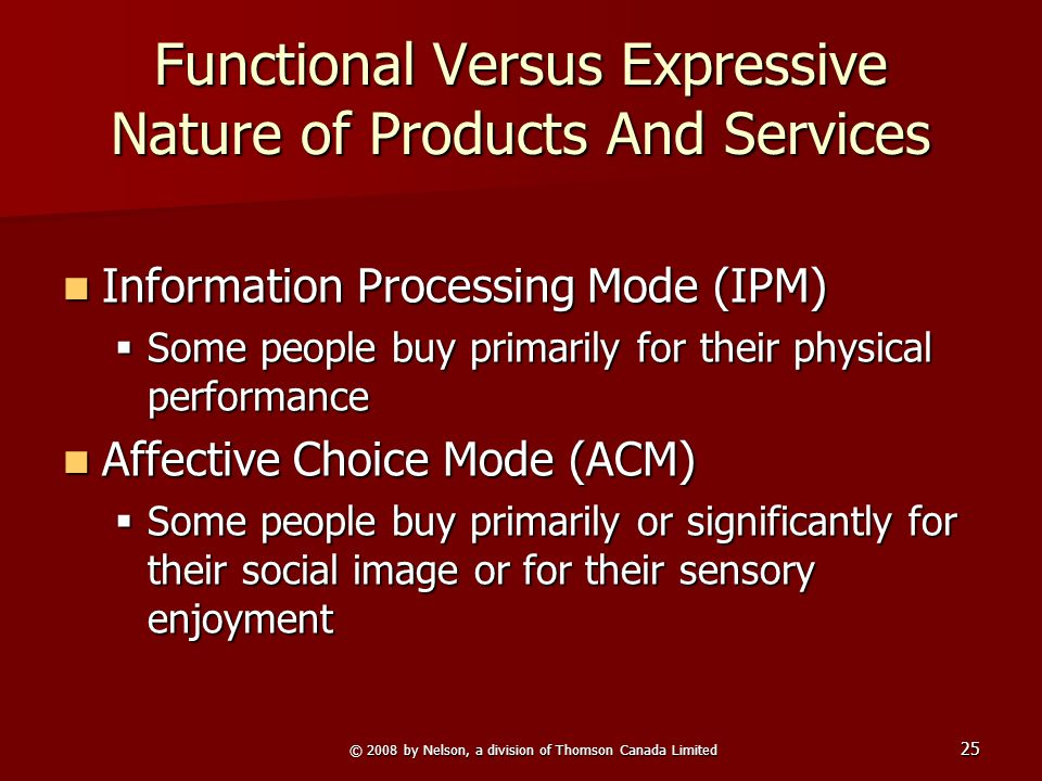 © 2008 by Nelson, a division of Thomson Canada Limited 25 Functional Versus Expressive Nature of Products And Services Information Processing Mode (IP