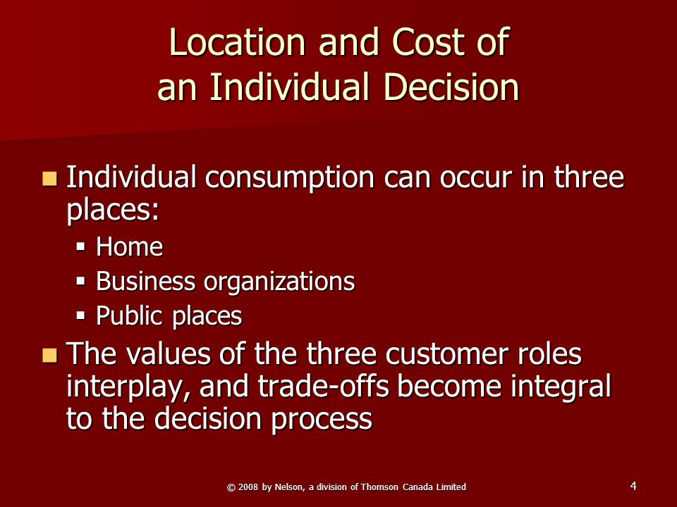 © 2008 by Nelson, a division of Thomson Canada Limited 4 Location and Cost of an Individual Decision Individual consumption can occur in three places: Individual consumption can occur in three places:  Home  Business organizations  Public places The values of the three customer roles interplay, and trade-offs become integral to the decision process The values of the three customer roles interplay, and trade-offs become integral to the decision process