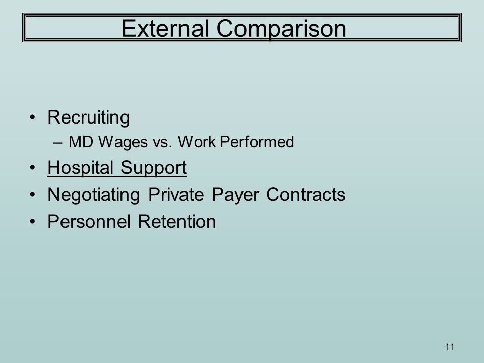 11 External Comparison Recruiting –MD Wages vs. Work Performed Hospital Support Negotiating Private Payer Contracts Personnel Retention