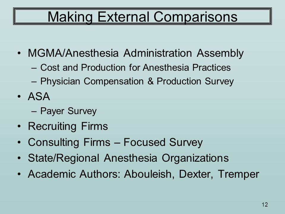 12 Making External Comparisons MGMA/Anesthesia Administration Assembly –Cost and Production for Anesthesia Practices –Physician Compensation & Product