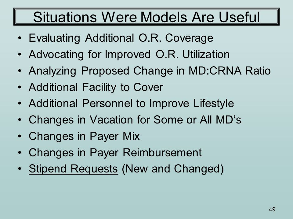 49 Situations Were Models Are Useful Evaluating Additional O.R.