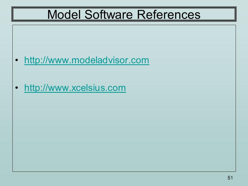 51 Model Software References http://www.modeladvisor.com http://www.xcelsius.com