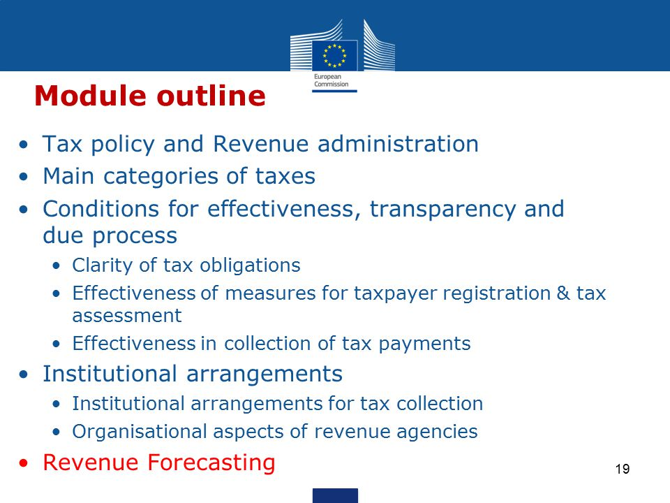 Tax policy and Revenue administration Main categories of taxes Conditions for effectiveness, transparency and due process Clarity of tax obligations Effectiveness of measures for taxpayer registration & tax assessment Effectiveness in collection of tax payments Institutional arrangements Institutional arrangements for tax collection Organisational aspects of revenue agencies Revenue Forecasting Module outline 19