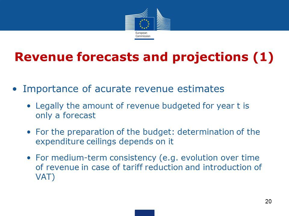 Importance of acurate revenue estimates Legally the amount of revenue budgeted for year t is only a forecast For the preparation of the budget: determination of the expenditure ceilings depends on it For medium-term consistency (e.g.