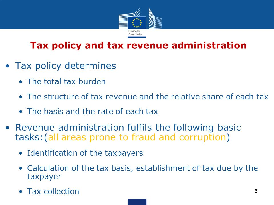Tax policy and Revenue administration Main categories of taxes Conditions for effectiveness, transparency and due process Clarity of tax obligations Effective measures for taxpayer registration & tax assessment Effectivene collection of tax payments Institutional arrangements Institutional arrangements for tax collection Organisational aspects of revenue agencies Revenue Forecasting Module outline 6