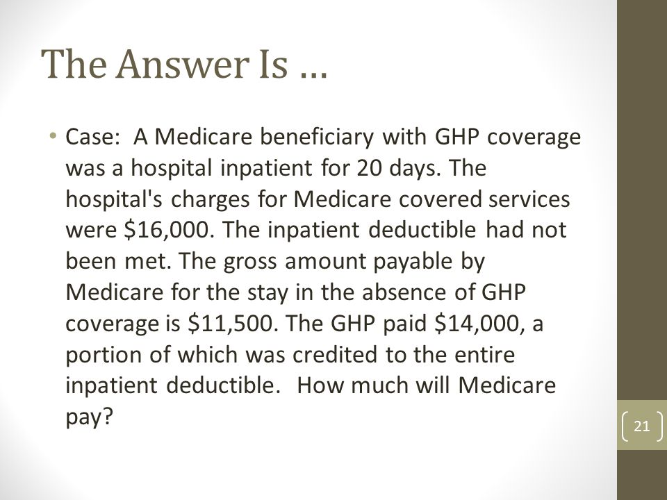 Case: A Medicare beneficiary with GHP coverage was a hospital inpatient for 20 days.
